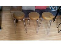 Set of 3 Pair steel Kitchen Stool Breakfast Bar Stools Vintage Barstools 65 cm