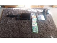 xbox 360 + kinect with tv mount and two controllers + 6 games