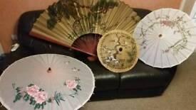 Wall fan and parasols