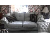 3 piece leather suite in light green very expensive when new come and view in Solihull