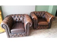 Chesterfield leather club chairs