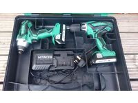 """NO OFFERS!! HITACHI 18v LI-ION COMBI DRILL & IMPACT DRIVER KIT """"IMMACULATE AS NEW CONDITION"""" DeWALT"""