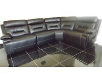 Designer Black Leather electric 4 piece corner sofa (13) £899