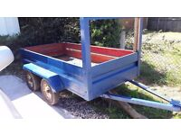4 twin wheel trailer,old but servisable. Used for transporting goods to france on countless trips