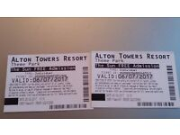 2 x Alton Towers Tickets - Thurs 6th July 2017