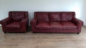 Leather sofa and armchair - very comfy
