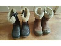 2 pairs girl Clarks Boots size 6.5 & 7