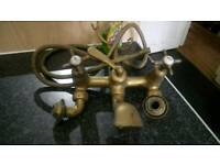 Antique brass mixer taps