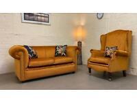 Chesterfield Windsor sofa + wingback chair duresta burnt orange 🍊