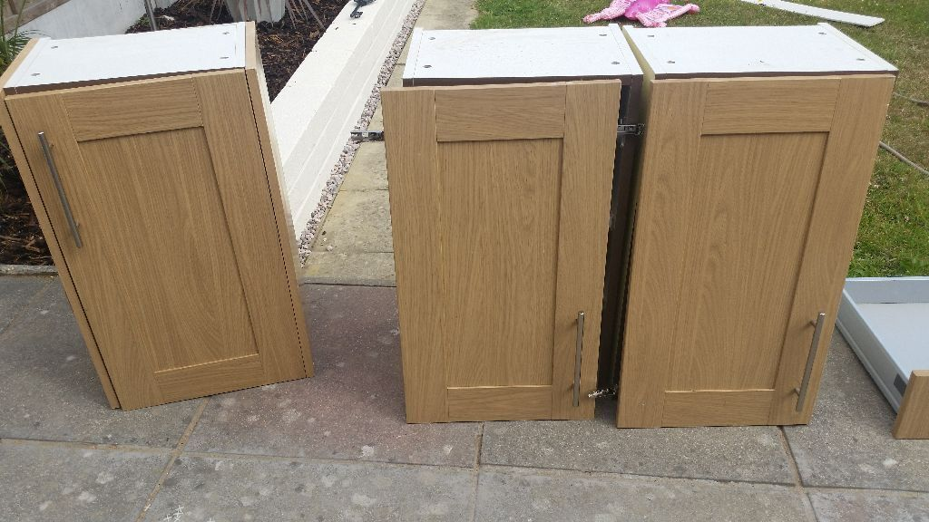 Beech effect wall units and draws in bournemouth dorset for Beech effect kitchen base units