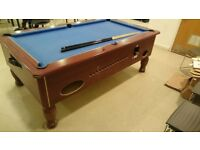 7ft x 4ft Pool Table - Coin Operated. Solid Slate