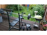 Gym Bench +Cast Iron Barbell and Dumbbell Set 135kg total+ many more