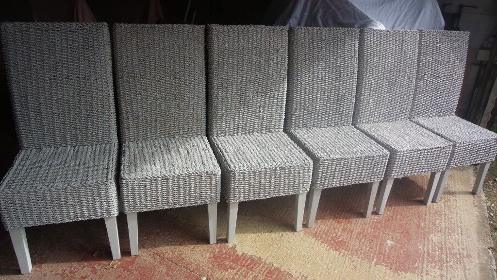 Six Wicker Banana Leaf Dining Chairs Hand Painted Soft Grey In
