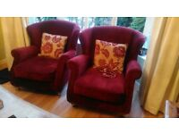 Large sofa and two arm chairs for sale
