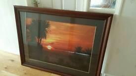 Large Framed canvas print. Sunrise over Torbay