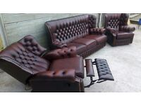 Leather Chesterfield 3 piece suite In Luxurious ox blood, full reclinerble chair, can deliver?