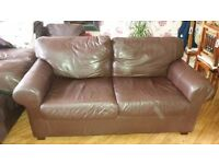 2 x 2 seater IKEA brown leather sofas