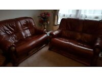 TWO SEATER SOFA. Leather/wood
