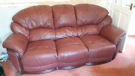 3 person red leather sofa free on collection