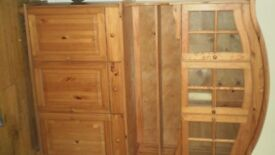PINE WALL UNIT/DRESSER - 3 DRAWERS,3 GLASS CUPBOARDS,3 BASE CUPBOARDS