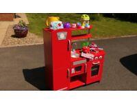 KidCraft Red Vintage Kitchen plus bag of kitchen accessories