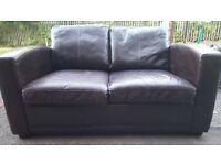 Brown leather 3 seater and 2 seater sofa setees