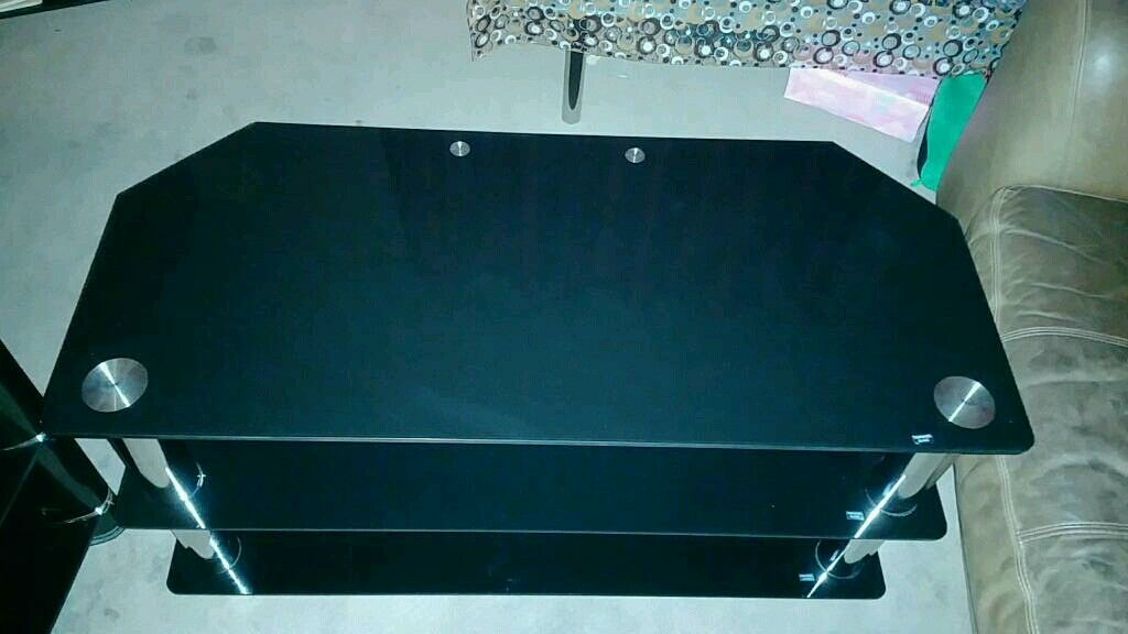 3 Tier Black Glass Tv Stand With Chrome Legs In Horbury West