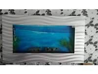 Stunning Wall mounted fish tank includes full setup