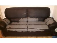 FREE Faux leather 3 seater brown sofa