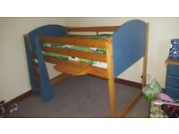 Kids Bed. Midsleeper blue and pine. Great condition. Has been dismantled for easy removal.
