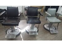 3 Belmount Dainyt chairs , 2 Hairdressing chairs plus 1 Hydrolic pump.
