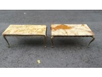 Onyx coffee tables with solid brass legs,can deliver approx 100/50 cm