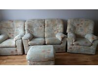 2 seater sofa, 2 amrchairs