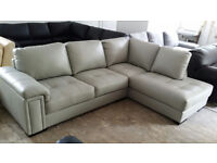 NEW Luxurious Grey Leather Grand Corner Sofa Suite FREE Local Delivery