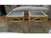 Two small cane / wicker conservatory coffee side tables with glass top