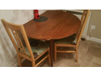 Antique real wood solid dining table with two chairs
