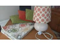 Full length lined curtains, 3 cushions & matching table lamp