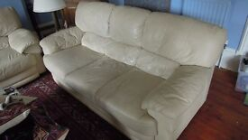 one leather sofa - 3 seaters - ivory colour - ex-DFS