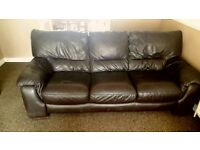 Two large brown leather 3 seater sofas