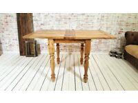 Petite Turned Leg Extending Rustic Farmhouse Kitchen Dining Table - Space Saving Design