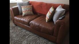 Lovely Brown Sofa & Armchair