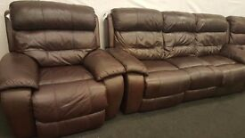 Real leather cherry black 3+3+1 reclining sofas BIG SET