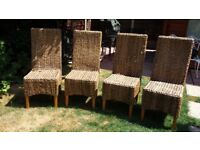 Solid Mango & Grass Dining Chairs x 4 nearly new mint condition