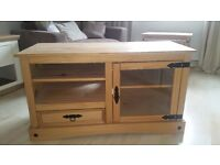 Pine tv unit/glass door & matching pine nest of tables