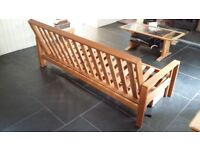 futon company 3-seater solid oak frame double sofa bed + underbed drawer
