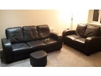 Black leather suite 3 & 2 with foot stool