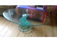 Spiral base recycled glass coffee table