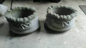 Pair of concrete cast planters