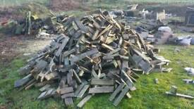 Firewood pallets ready for burning