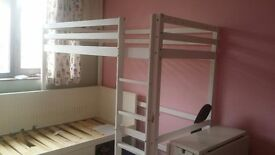 single high sleeper bunk bed with study table underneath. (white) Apr. dimensions H180cmW90cmL200cm